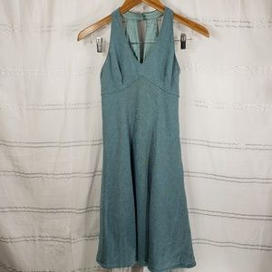Loft Teal Green Linen Blend Halter Dress Petite
